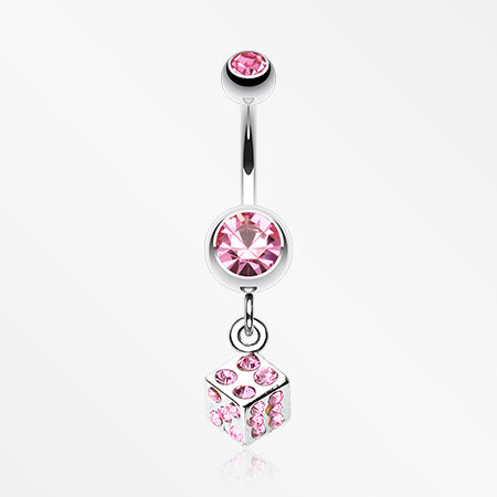 Single Dice Sparkle Belly Ring-Light Pink