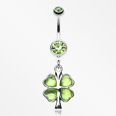 Lucky Four Leaf Clover Dangle Belly Ring-Green