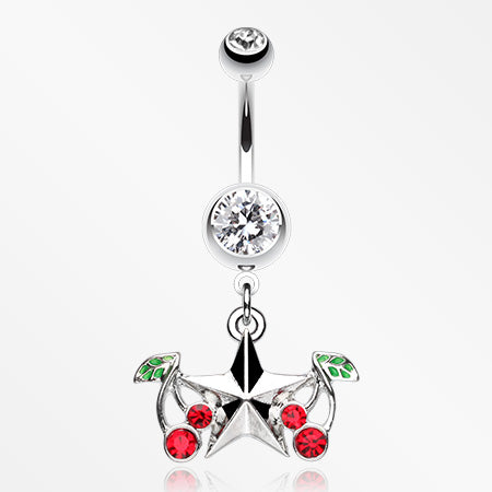 Cherry Star Belly Button Ring-Clear