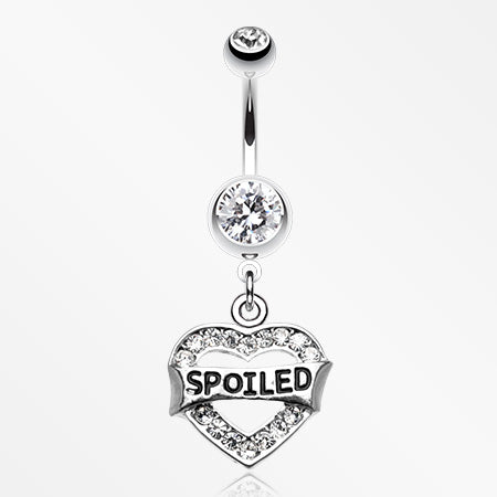 'Spoiled' Heart Sparkle Belly Ring-Clear
