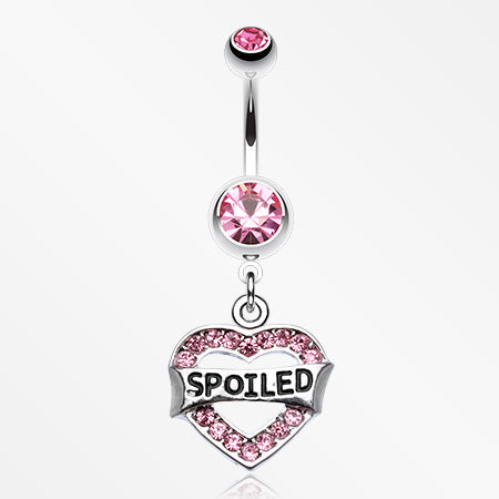 'Spoiled' Heart Sparkle Belly Ring-Pink