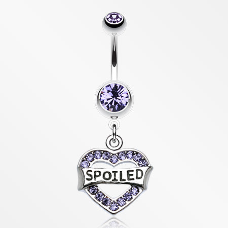 'Spoiled' Heart Sparkle Belly Ring-Tanzanite