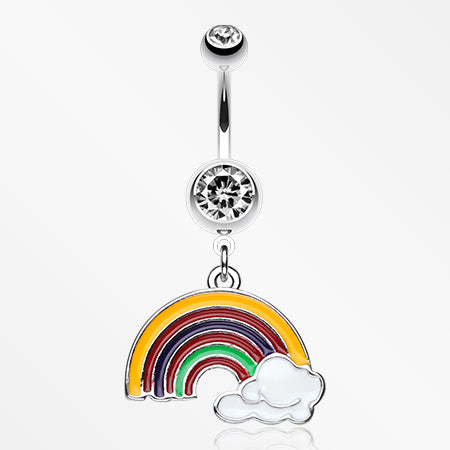Color Blocked Rainbow Belly Ring-Clear