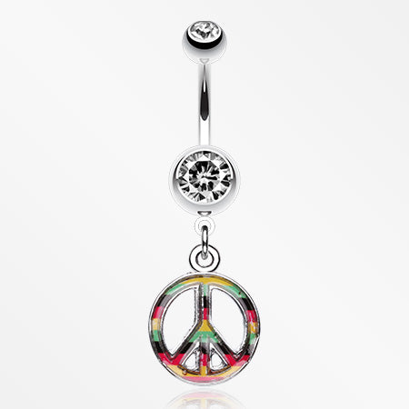 Rasta Stripe Peace Belly Ring-Clear
