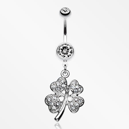 Classic Four Leaf Clover Sparkle Belly Ring-Clear