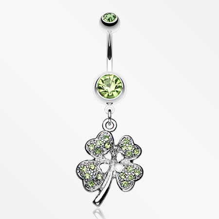 Classic Four Leaf Clover Sparkle Belly Ring-Light Green