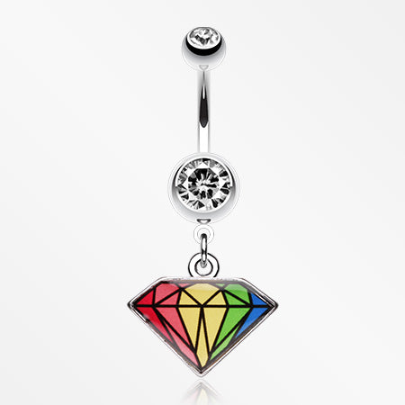 Prism Rainbow Diamond Belly Ring-Clear