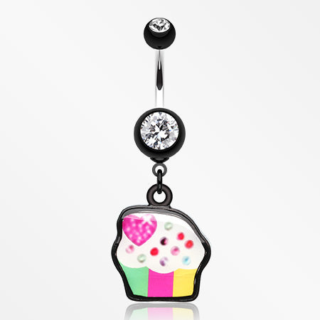 Sweet Tooth Cupcake Belly Button Ring-Black