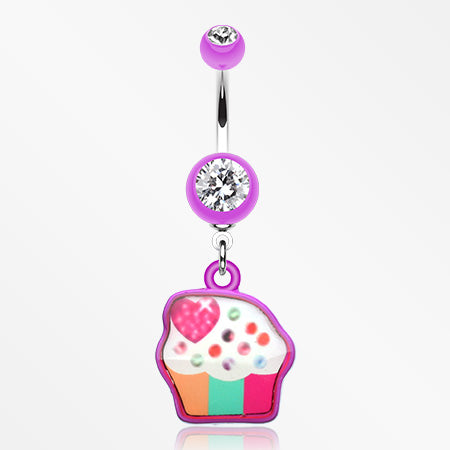 Sweet Tooth Cupcake Belly Button Ring-Purple