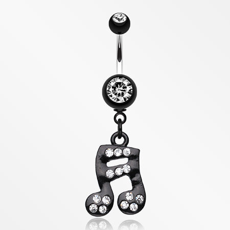 Sparkle Fun Music Note Dangle Belly Ring-Clear