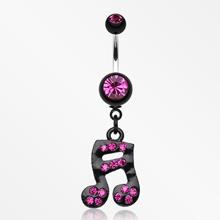 Sparkle Fun Music Note Dangle Belly Ring-Fuchsia
