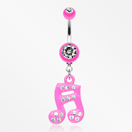 Sparkle Fun Music Note Dangle Belly Ring-Pink