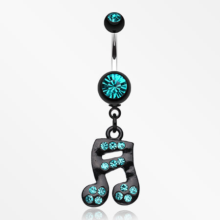 Sparkle Fun Music Note Dangle Belly Ring-Teal