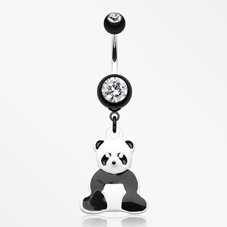 My Own Panda Bear Belly Button Ring-Black