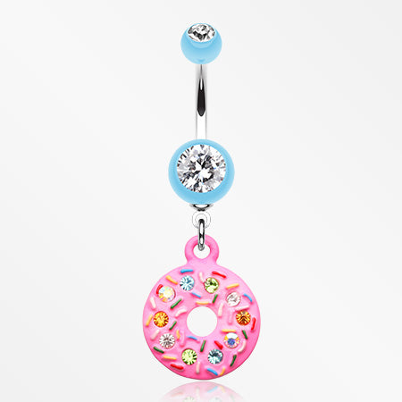 Pink Frosted Sprinkled Donut Belly Button Ring-Light Blue