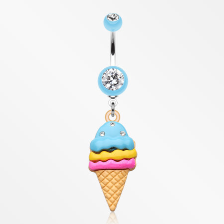 Triple Treats Ice Cream Belly Button Ring-Light Blue