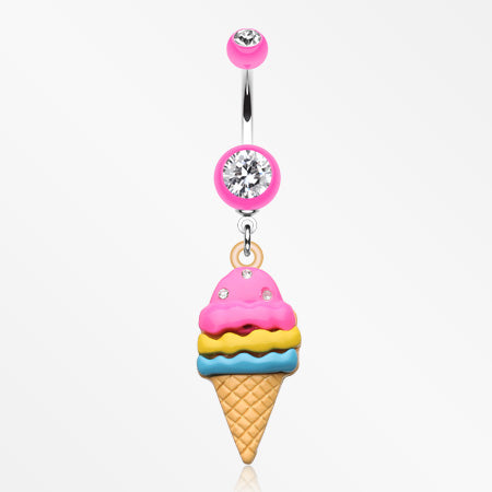 Triple Treats Ice Cream Belly Button Ring-Pink
