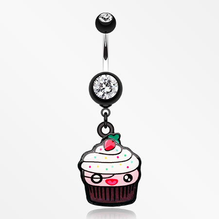 Betty Cupcake Belly Button Ring-Black