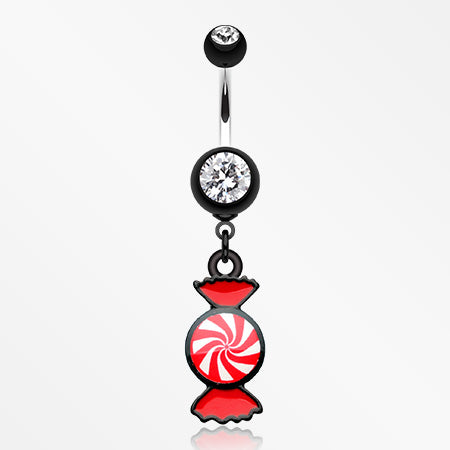 Sugar Swirls Candy Belly Button Ring-Black