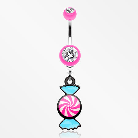 Sugar Swirls Candy Belly Button Ring-Pink