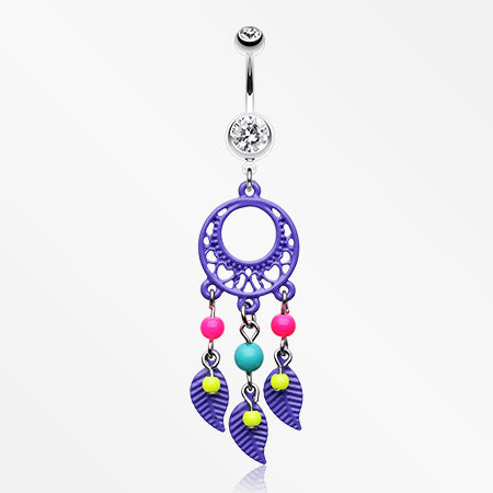 Enchanted Loop Dream Catcher Belly Ring-Purple
