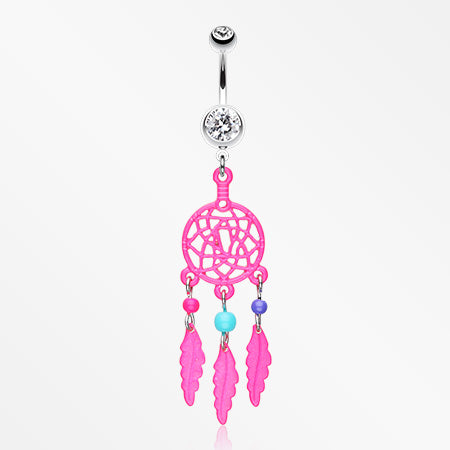 Enchanted Links Dream Catcher Belly Ring-Pink