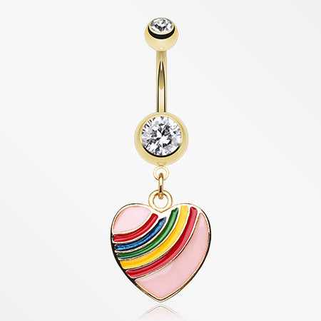 Golden Rainbow Dash Heart Belly Ring-Clear