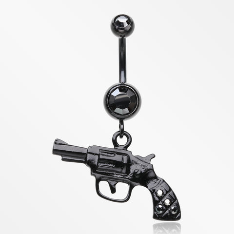 Blackline Pistol Gun Sparkle Belly Ring-Black/Hematite