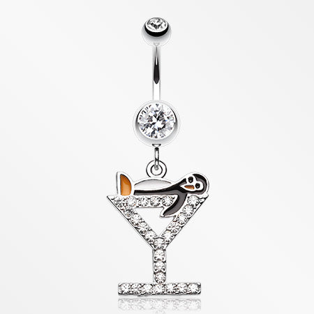 Happy Penguin Hour Martini Belly Button Ring-Clear