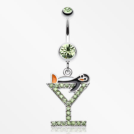 Happy Penguin Hour Martini Belly Button Ring-Light Green