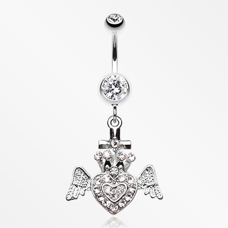 Ultra Bright Crowned Angel Heart and Cross Belly Button Ring-Clear