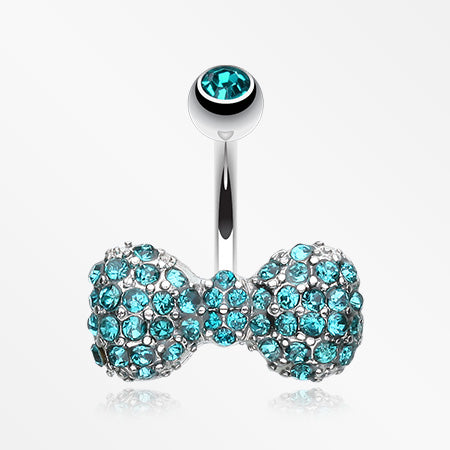 Sparkle Wonder Bow-Tie Belly Button Ring-Teal