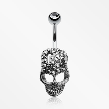 Skull Fury Multi-Gem Belly Button Ring-Gun Metal/Black Diamond