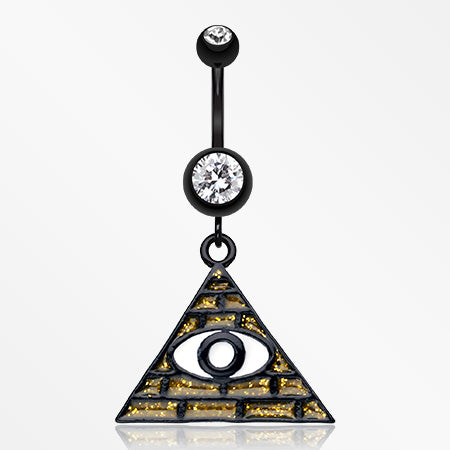 Illuminati The All Seeing Eye Belly Button Ring-Black