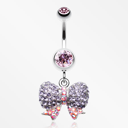 Lovely Sparkle Bow-Tie Belly Button Ring-Light Pink