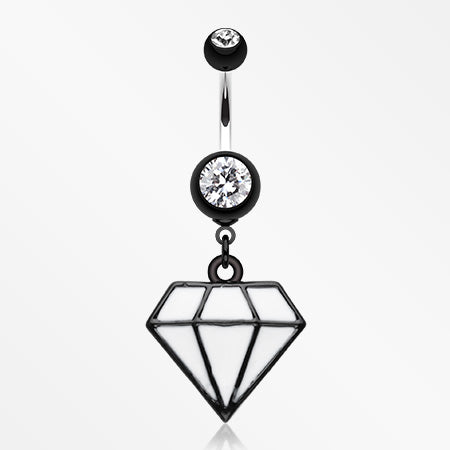 Urban Diamond Belly Button Ring-Black