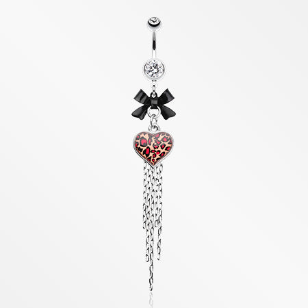 Leopard Heart Bow-Tie Belly Button Ring-Clear