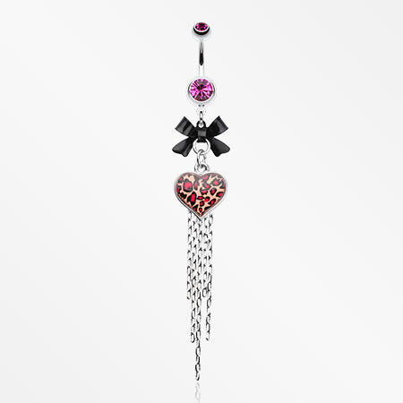 Leopard Heart Bow-Tie Belly Button Ring-Fuchsia