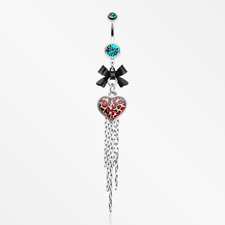 Leopard Heart Bow-Tie Belly Button Ring-Teal