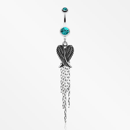 Fallen Angel Belly Button Ring-Teal