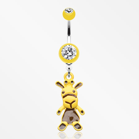 Yellow Cow Belly Button Ring-Yellow