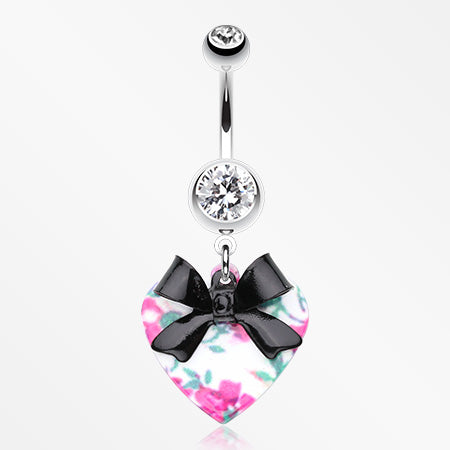 Vintage Floral Heart Bow-Tie Belly Button Ring-Clear