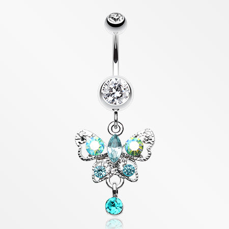 Butterfly Gleam Belly Button Ring-Clear/Aurora Borealis
