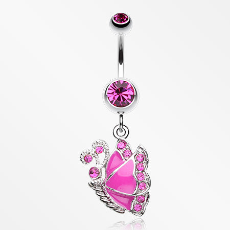 Charming Butterfly Belly Button Ring-Fuchsia