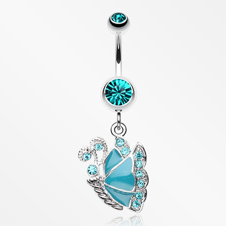 Charming Butterfly Belly Button Ring-Teal