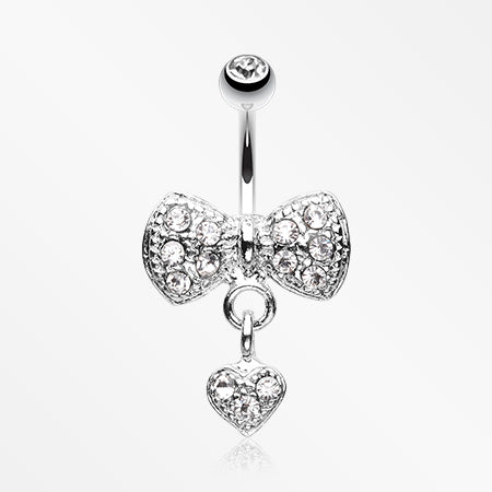 Dangle Heart Bow-Tie Belly Button Ring-Clear