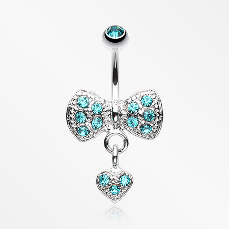 Dangle Heart Bow-Tie Belly Button Ring-Teal