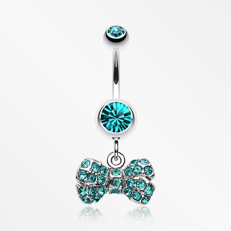 Dainty Bow-Tie Belly Button Ring-Teal