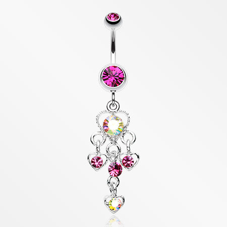 Sparkle Multi Heart Belly Button Ring-Fuchsia/Aurora Borealis
