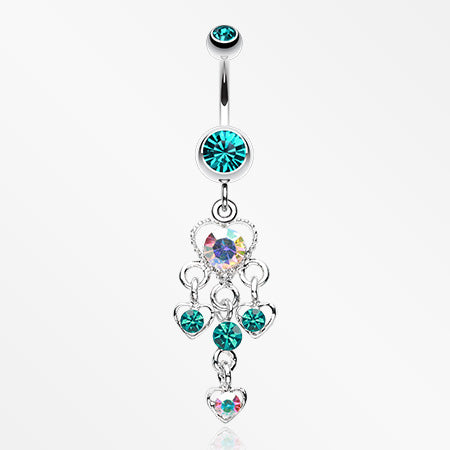 Sparkle Multi Heart Belly Button Ring-Teal/Aurora Borealis